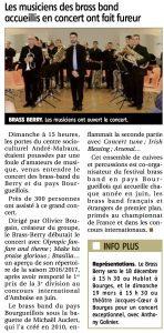 Article du Berry républicain du 16/11/2016 suite au concert à Mehun avec le brass de Bourgueil