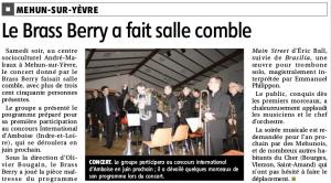 Article du Berry républicain du 06/04/2016 suite au concert du 02/04/2016 à Mehun sur Yèvre
