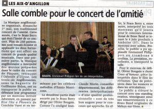 Article du Berry républicain du 05/05/2016 suite au concert du 01/05/2016 aux Aix d'Angillon
