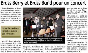 Article du Berry républicain du 07/11/2016 avant concert à Mehun avec le brass de Bourgueil